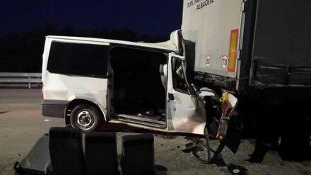 Микроавтобус врезался в фуру на воронежской трассе: есть погибшие и раненые