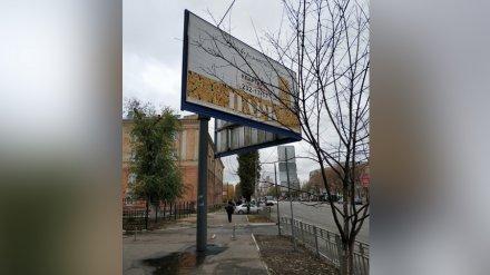 Перегородивший тротуар уродливый рекламный щит снесут после жалоб воронежцев
