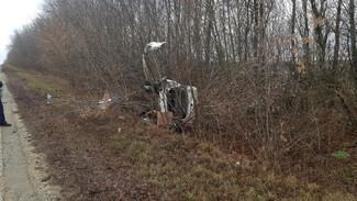 Под Воронежем иномарка вылетела с трассы в кусты: двое пострадали