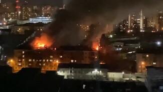 Пятиэтажный дом в Воронеже полностью эвакуировали из-за мощного пожара: появилось видео