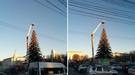 В Воронеже завершили установку новогодней ёлки на площади Ленина