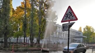У воронежского лицея из-под земли забил 10-метровый фонтан с кипятком