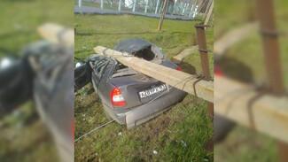Пьяный водитель взял на таран столб в Воронежской области