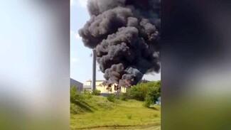Охваченный пламенем лакокрасочный завод в Воронежской области сняли на видео