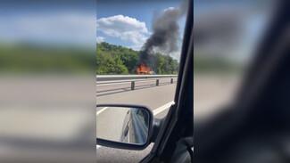 В Воронежской области из-за загоревшейся машины произошло массовое ДТП