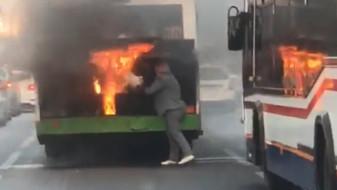 В центре Воронежа вспыхнул пассажирский автобус №80