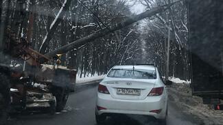 В Воронеже рухнувший на дорогу фонарный столб парализовал движение