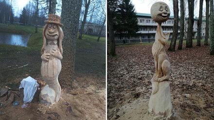Воронежский резчик бензопилой превратил в скульптуры аварийные деревья в Пскове