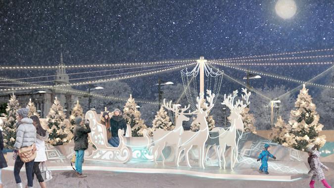 Власти Воронежа потратят 8,5 млн рублей на новогодние украшения площади Ленина