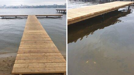 Сломанный воронежцами пирс в парке «Дельфин» починили