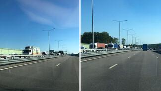 Большая пробка образовалась на выезде из Воронежа из-за ДТП