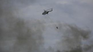 К тушению крупного пожара на военном полигоне под Воронежем присоединятся вертолёты