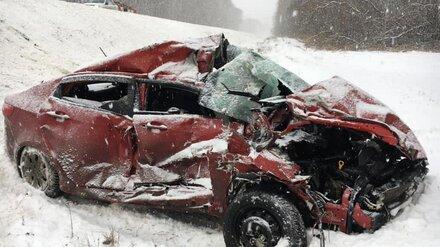 Под Воронежем два грузовика в сильный снегопад раздавили 19-летнего водителя легковушки