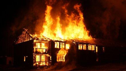 В воронежском райцентре во время крупного пожара рухнул дом