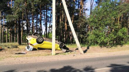В Воронеже такси врезалось в столб из-за взорвавшегося колеса