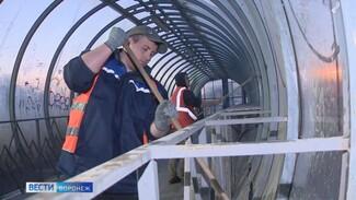Коммунальщики отмыли надземный переход на Московском проспекте в Воронеже