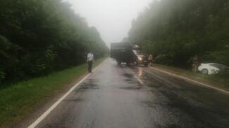 Иномарка вылетела в кювет из-за проливного дождя в Воронежской области