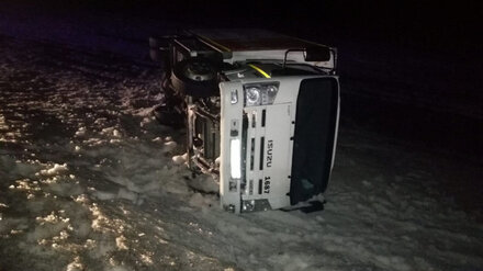 На трассе в Воронежской области перевернулся грузовик