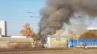Появилось видео крупного пожара в воронежском автосервисе