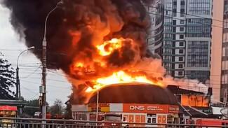 В Воронеже сгорел магазин DNS: мощнейший пожар сняли на видео