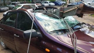 В Воронеже упавший столб разбил легковушку