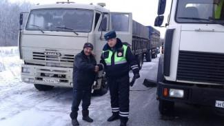 Под Воронежем инспекторы ГИБДД помогли дальнобойщику, замерзавшему на трассе из-за поломки
