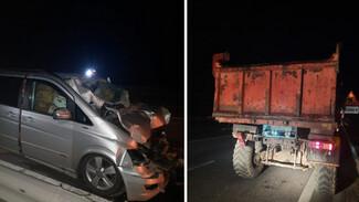 Водитель минивэна влетел под грузовик на воронежской трассе и погиб