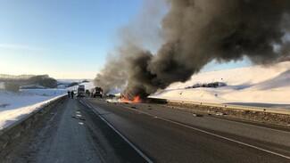 В аварии на трассе сгорели 8 человек