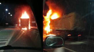 В Воронежской области на ходу загорелся грузовик