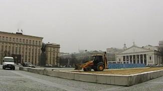 На главной площади Воронежа начали устанавливать каток