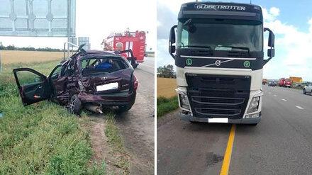 Сестра с 9-летним братом пострадали в ДТП с грузовиком в Воронежской области