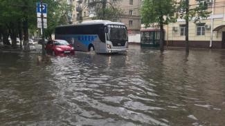 Сильный дождь утопил несколько воронежских улиц