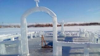 Храм и лебедь изо льда. Неизвестный скульптор преобразил прорубь в Воронежской области
