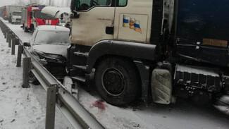 На заснеженной трассе М-4 «Дон» в Воронежской области столкнулись три фуры