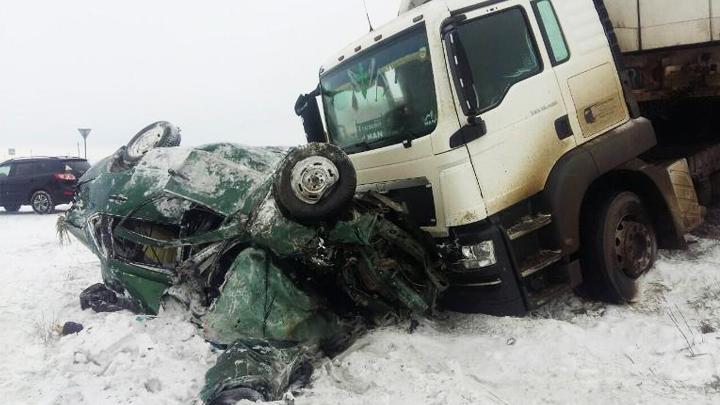 В Воронежской области фура с прицепом влетела в «Ладу»: погибли 2 человека