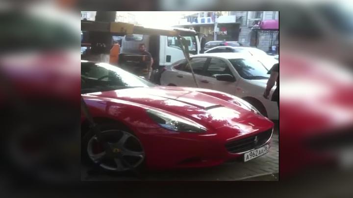 Эвакуация Ferrari за 16 млн рублей в центре Воронежа попала на видео