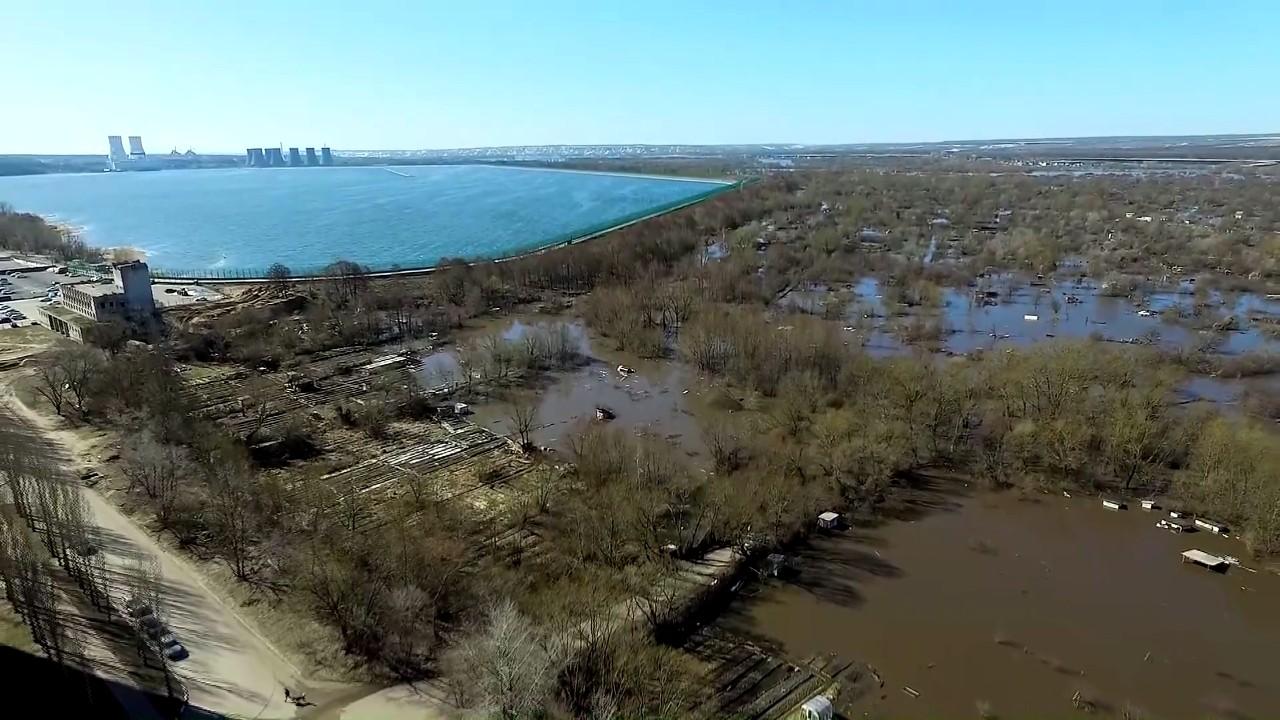 Затопленный Нововоронеж сняли на видео с высоты птичьего полёта