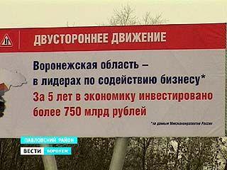 Баннеры с социальной рекламой пропагандируют достижения Воронежской области