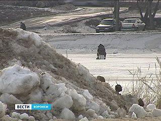 Горы грязного снега с городских улиц выгрузили в центре Воронежского водохранилища