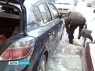 Из-за аварии на водоводе в Северном районе несколько машин примёрзли колёсами к земле