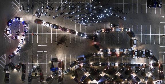 Воронежские владельцы автомобилей устроили флешмоб к9Мая