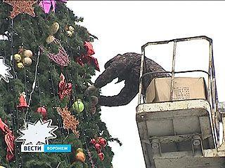 На площади Ленина разбирают главную городскую ёлку