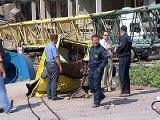 На строительной площадке по Бульвару Победы рухнул башенный кран