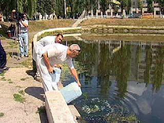 Озеро на остановке Минской очистили новым методом