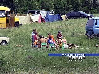Палаточный городок вырос на берегу Таловского водохранилища