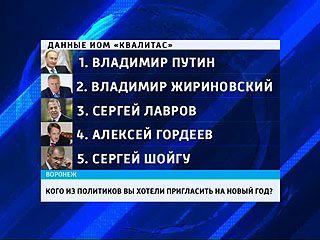 Треть Воронежцев мечтают пригласить на новый год Владимира Путина