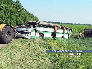 В  Борисоглебском районе перевернулся автобус