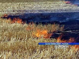 В Калачеевском районе горит сухая трава и стерня на полях