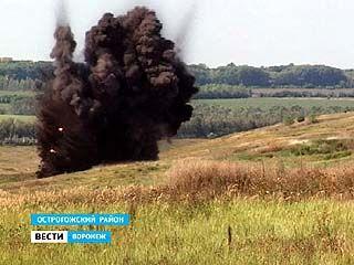 В Острогожском районе специалисты взорвали более 800 снарядов времён ВОВ