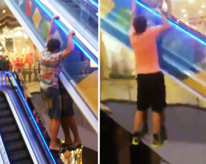 ВИДЕО: В Воронеже подростки устроили опасный аттракцион в торговом центре